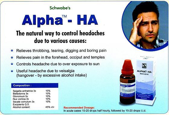 Alpha HA - homeopathic remedy for headaches