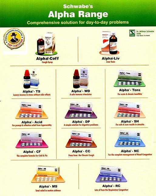 Schwabe Alpha Range of Homeopathic medicines