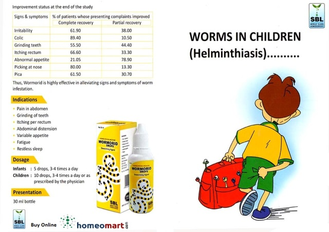 SBL Homeopathy Wormorid drops for Worms (Helminthiasis) in children