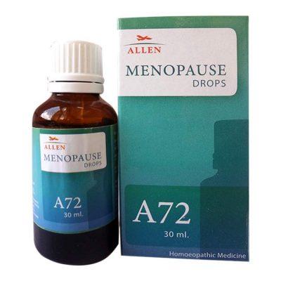 Allen A72 Menopause Drops for vasodilatory hot flushes, depression, insomnia, mood swings, irritability, night sweats, headaches, painful sexual intercourse, vaginitis