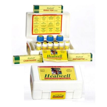Healwell Homeopathic Injury Kit for cuts, wounds, sprains, muscular pain, burns and scalds, nerve injuries, insects bites etc