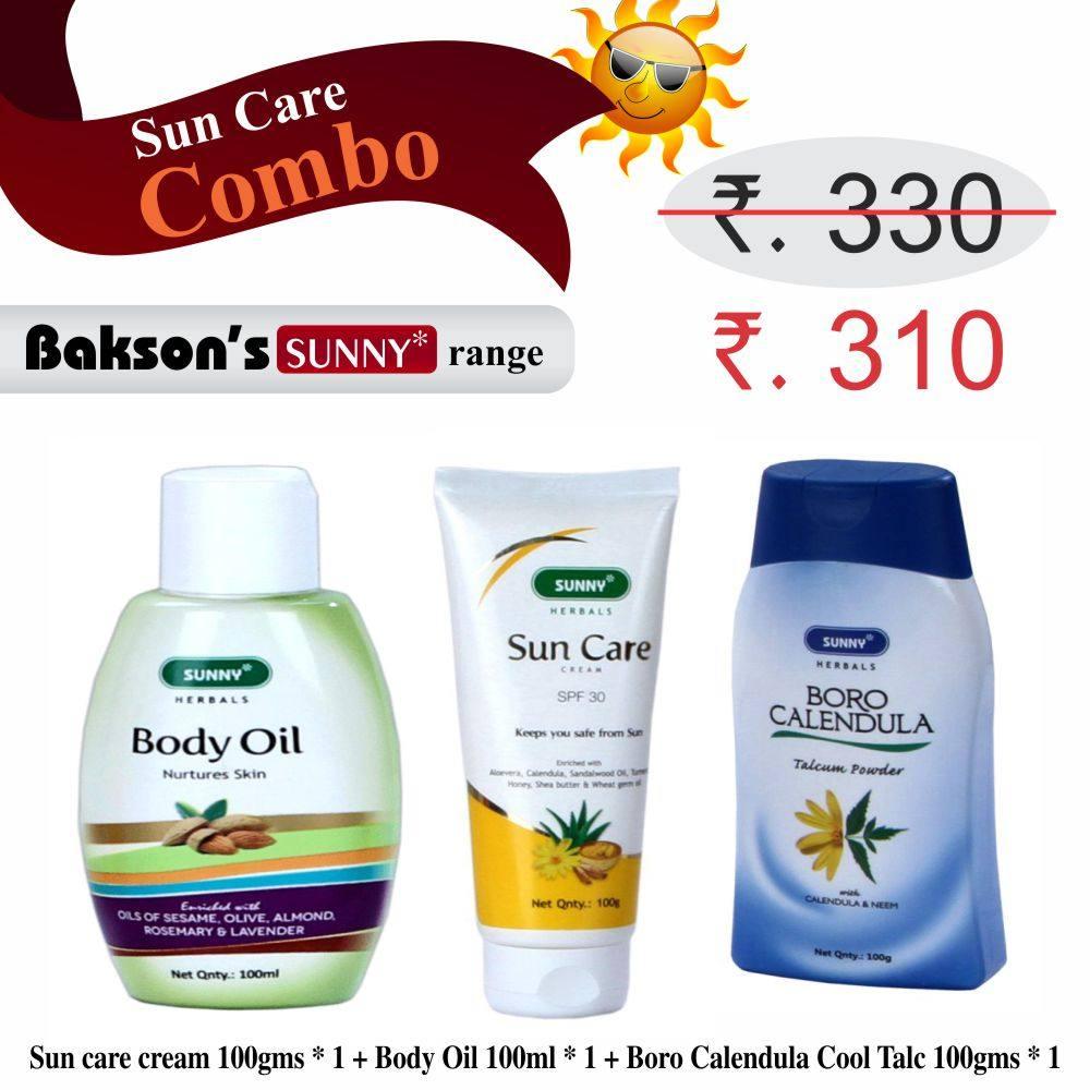 Buy Bakson Sunny Herbals Sun care cream, Body Oil, Boro Calendula talc