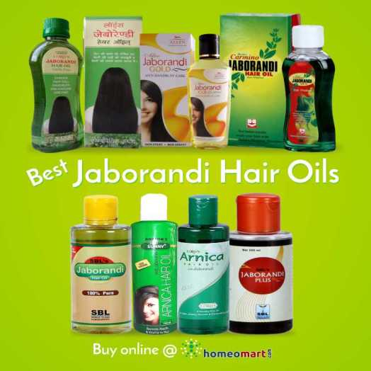 SBL Jaborandi Hair Oil, Allen Jaborandi Gold, Baksons Sunny Arnica with Jaborandi, Wheezals Jaborandi Hair Treatment Oil