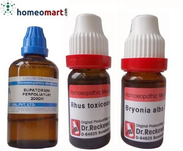 Chikungunya Homeopathy medicines - Eupatorium Perfolatium, Rhus Tox, Bryonia Alba