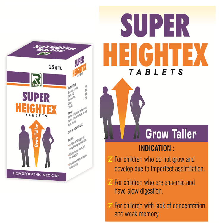 Dr.Raj Super Heightex Tablets, Homeopathy Grow Taller Medicine